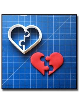 Coeur Puzzle 001 - Emporte-pièce pour pâtes à sucre et sablés sur le thème Amour