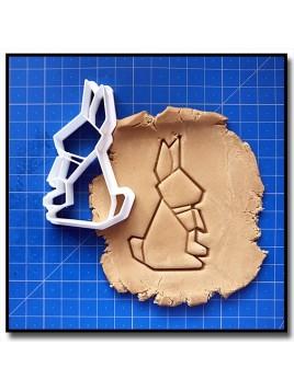 Lapin Origami 001 - Emporte-pièce pour pâtes à sucre et sablés sur le thème Origami