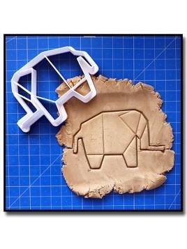 Elephant Origami 001 - Emporte-pièce pour pâtes à sucre et sablés sur le thème Origami