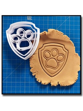 Logo Badge Pat Patrouille 001 - Emporte-pièce pour pâtes à sucre et sablés sur le thème Pat Patrouille