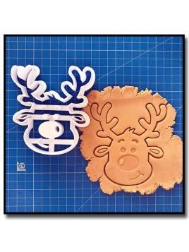 Renne Visage 001 - Emporte-pièce pour pâtes à sucre et sablés sur le thème Noël