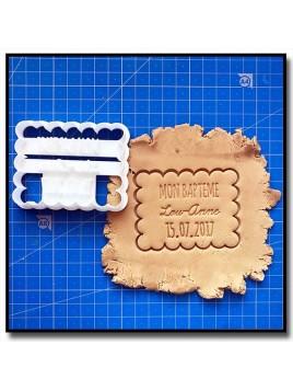 Mon Bapteme, Prénom et date 001 - Emporte-pièce pour pâtes à sucre et sablés sur le thème Bâpteme