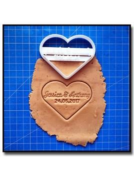 Coeur, Prénoms & Date 001 - Emporte-pièce pour pâtes à sucre et sablés sur le thème Amour