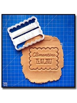 Petit Beurre, Prénoms & Date 001 - Emporte-pièce pour pâtes à sucre et sablés sur le thème Personnalisée