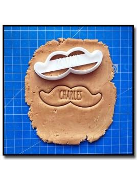 Moustache et Prénom 001 - Emporte-pièce pour pâtes à sucre et sablés sur le thème Moustache & Noeud Pap