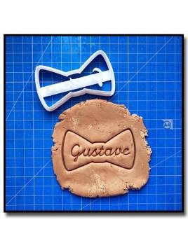 Noeud Papillon & Prénom 001 - Emporte-pièce pour pâtes à sucre et sablés sur le thème Moustache & Noeud Pap
