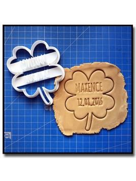Trèfle, Prénom et Date 001 - Emporte-pièce pour pâtes à sucre et sablés sur le thème Saint Patrick