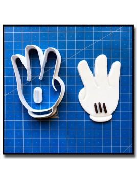 Main de Mickey 3 Chiffres 001 - Emporte-pièce pour pâtes à sucre et sablés sur le thème La bande de Mickey