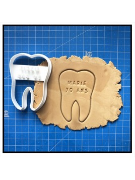 Dents & Prénom 001 - Emporte-pièce pour pâtes à sucre et sablés sur le thème Médical