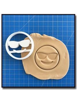 Emoticone Lunettes de soleil 001 - Emporte-pièce pour pâtes à sucre et sablés sur le thème Réseaux sociaux