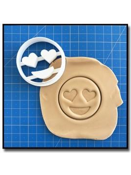 Emoticone Yeux Coeur 001 - Emporte-pièce pour pâtes à sucre et sablés sur le thème Réseaux sociaux