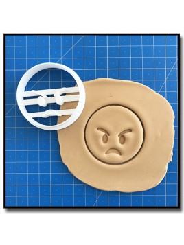 Emoticone Faché 001 - Emporte-pièce pour pâtes à sucre et sablés sur le thème Réseaux sociaux