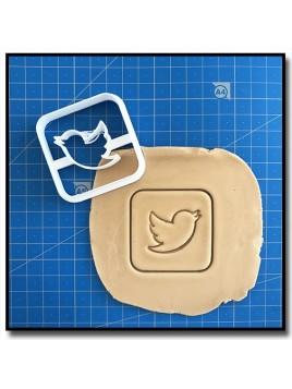 Twitter 001 - Emporte-pièce pour pâtes à sucre et sablés sur le thème Réseaux sociaux