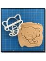 Éléphant Visage 001 - Emporte-pièce pour pâtes à sucre et sablés sur le thème Safari