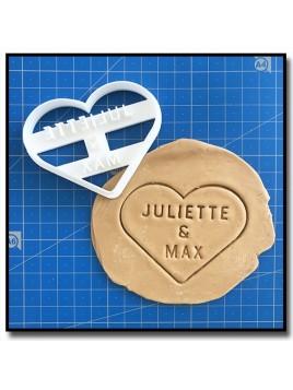 Coeur & Prénom 001 - Emporte-pièce pour pâtes à sucre et sablés sur le thème Amour