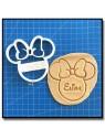 Minnie & Prénom 001 - Emporte-pièce pour pâtes à sucre et sablés sur le thème La bande de Mickey
