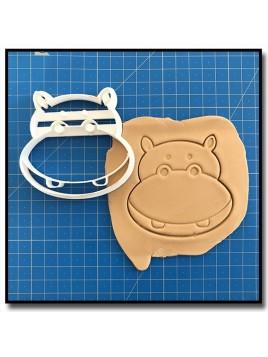 Hippopotame Visage 001 - Emporte-pièce pour pâtes à sucre et sablés sur le thème Safari