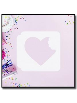 Coeur Croqué 901 - Pochoir pour pâtes à sucre et sablés sur le thème Amour