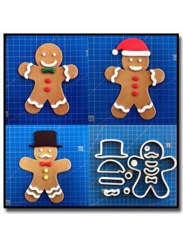 Bonhomme en pain d'épices 101 - Emporte-pièce en Kit pour pâtes à sucre et sablés sur le thème Noël