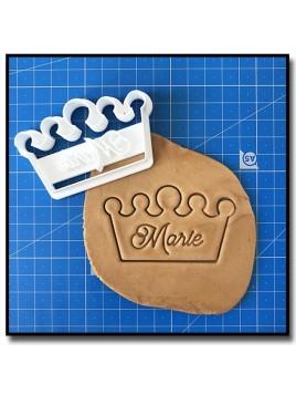 Couronne et Prénom 001 - Emporte-pièce pour pâtes à sucre et sablés sur le thème Rois et Reines