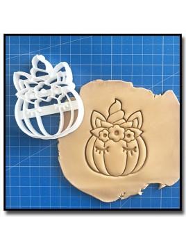 Citrouille Licorne 002 - Emporte-pièce pour pâtes à sucre et sablés sur le thème Halloween