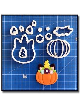 Citrouille Licorne 101 - Emporte-pièce en Kit pour pâtes à sucre et sablés sur le thème Halloween
