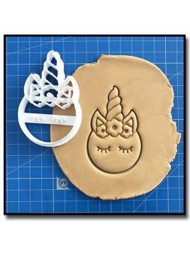 Licorne Visage 001 - Emporte-pièce pour pâtes à sucre et sablés sur le thème Licorne