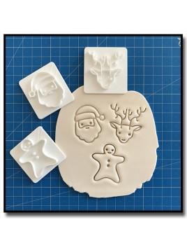 Gingerbread, Père Noel, Renne 301 - Tampon pour pâtes à sucre et sablés sur le thème Noël