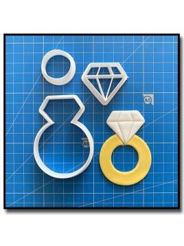 Diamant 101 - Emporte-pièce en Kit pour pâtes à sucre et sablés sur le thème Mariage